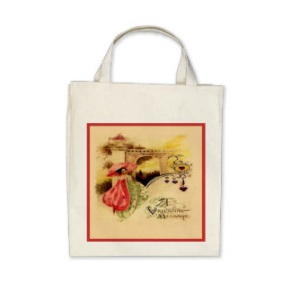 Eco-Friendly Vintage Valentine Parasol Reusable Bags