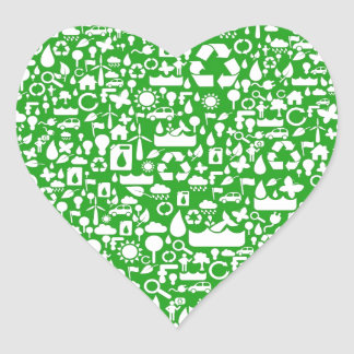 Eco Green Save the World Heart Sticker