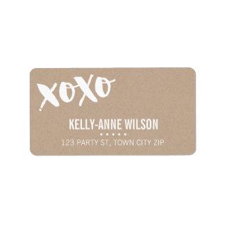 ECO KRAFT LOOK cute brush type xoxo white Address Label