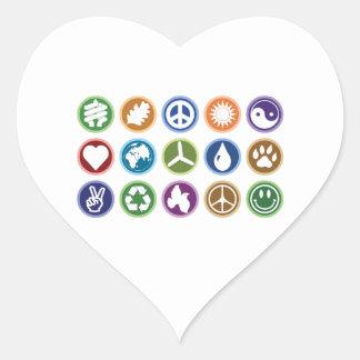 Eco Symbols Heart Sticker