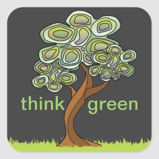 Eco Tree Think Green Sticker