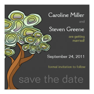 Eco Tree Wedding Save the Date 13 Cm X 13 Cm Square Invitation Card