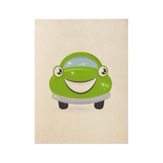 Eco washing Car / Illustration on wood. Poster art