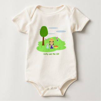"""Ecological Mameluco """"Cathy and the Cat"""" and apples Baby Bodysuit"""