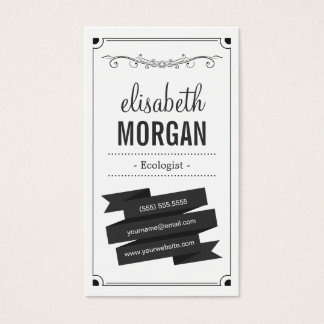 Ecologist - Retro Black and White Business Card