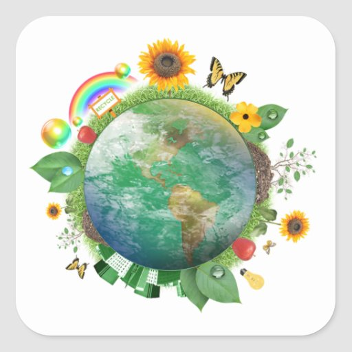Ecology : recycle - square stickers