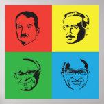 Econ Heads - Mises, Hayek, Rothbard, Friedman Poster