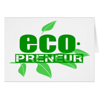 Ecopreneur With Leaves, Branch And Dot Hyphen Card