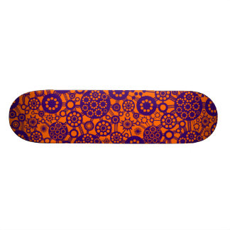 Ecosystem - Deep Purple on Orange Skate Board Deck