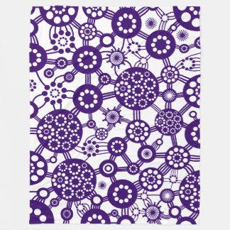 Ecosystem - Deep Purple on White Fleece Blanket