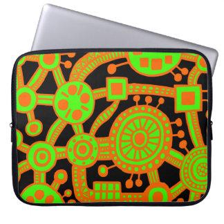 Ecosystem III Orange and Green on Black Computer Sleeves