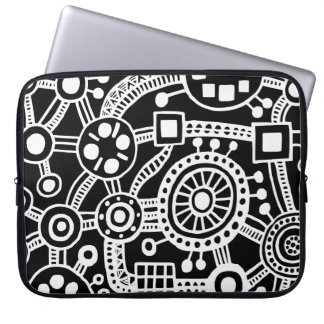 Ecosystem III White on Black Laptop Computer Sleeves