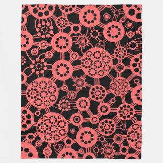 Ecosystem - Tropical pink on Black Fleece Blanket