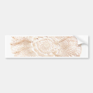Ecru Beige Tan Old-fashioned Vintage Doily Bumper Sticker