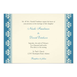 Ecru blue filigree beaded border custom wedding card