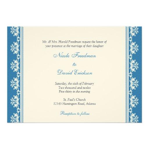 Ecru blue filigree beaded border custom wedding invite