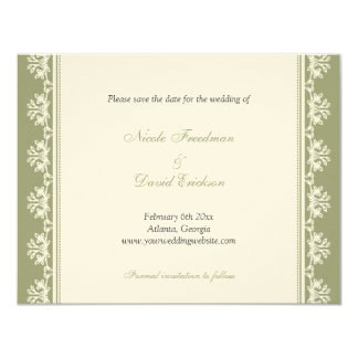 Ecru green filigree border wedding announcement