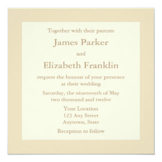 Ecru or Cream Square Wedding Invitations
