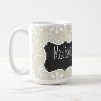 Ecru Paisley; Floral; Vintage Chalkboard Mug