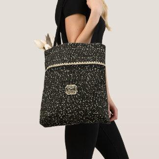 Ecru Speckled Black Unique Crochet Print All Over Tote Bag