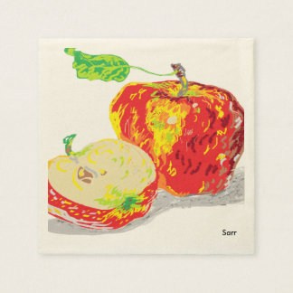 Ecru Standard Cocktail Paper Napkins /Apples