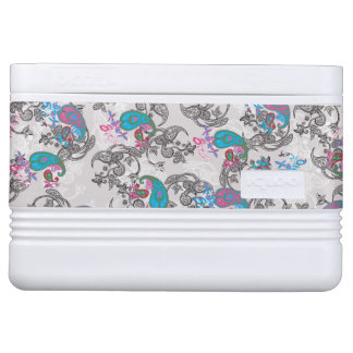 Ecru white traditional paisley floral pattern cooler