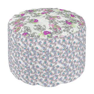Ecru white traditional paisley floral pattern pouf