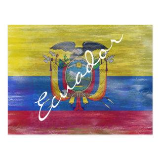 Ecuador distressed flag postcard