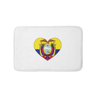 Ecuador Flag Heart Bath Mat