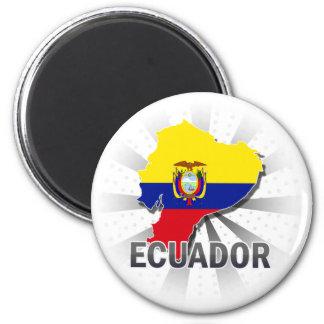 Ecuador Flag Map 2.0 6 Cm Round Magnet
