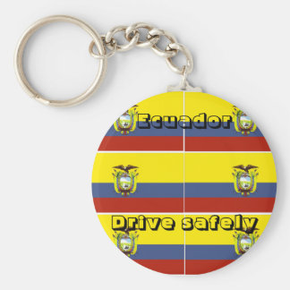 Ecuador keychains-drive safely basic round button key ring