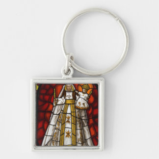 Ecuador, Quito. Statue of the winged Virgin 2 Silver-Colored Square Key Ring