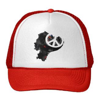 Ecuador Trendy Peace Sign with Ecuadorian map Hats