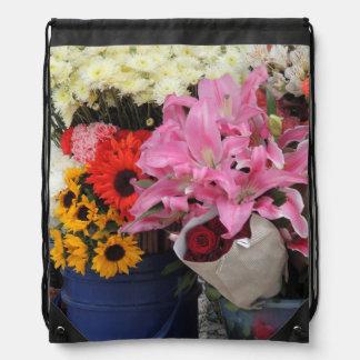 Ecuadorian Flower Market in the Church Plaza Drawstring Bag