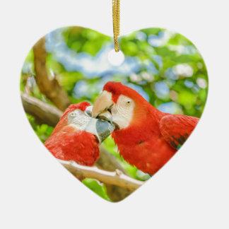 Ecuadorian Parrots at Zoo, Guayaquil, Ecuador Ceramic Heart Decoration