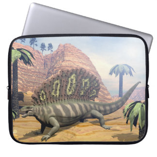 Edaphosaurus dinosaur walking in the desert laptop sleeve
