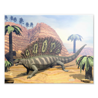 Edaphosaurus dinosaur walking in the desert photo print