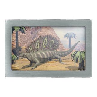 Edaphosaurus dinosaur walking in the desert rectangular belt buckle