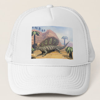 Edaphosaurus dinosaur walking in the desert trucker hat