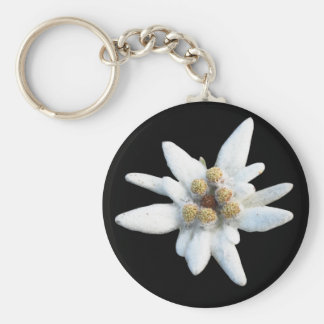 Edelweiss Bloom Basic Round Button Key Ring