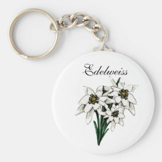 Edelweiss Flowers Basic Round Button Key Ring