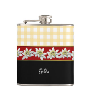 Edelweiss Flowers Custom Flask