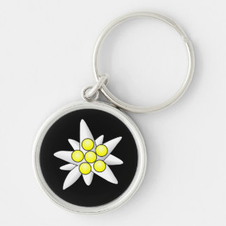 Edelweiss Flowers Silver-Colored Round Key Ring