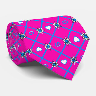 Edelweiss on blue knows yellow / double side print tie