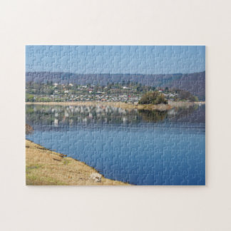Edersee bay when bringing living jigsaw puzzle