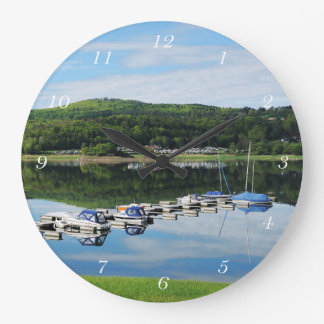 Edersee bay with separate large clock