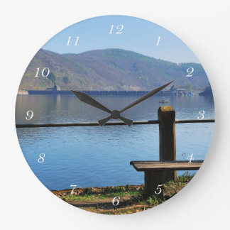 Edersee concrete dam from the water side large clock
