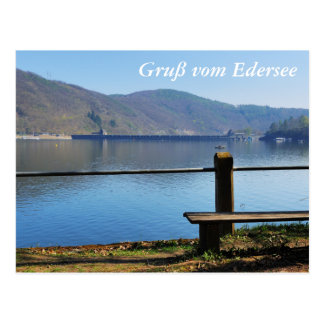 Edersee concrete dam from the water side postcard