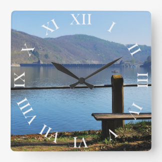 Edersee concrete dam from the water side square wall clock