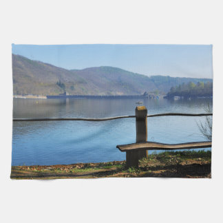 Edersee concrete dam from the water side tea towel